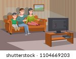 big happy family watching tv on ... | Shutterstock .eps vector #1104669203