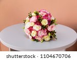 beautiful bouquet with pink... | Shutterstock . vector #1104670706