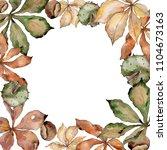 autumn chestnut leaves. leaf... | Shutterstock . vector #1104673163