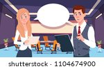 two business person chat... | Shutterstock .eps vector #1104674900