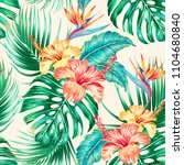 floral tropical vector seamless ... | Shutterstock .eps vector #1104680840
