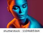 high fashion model girl in... | Shutterstock . vector #1104685364