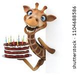 fun giraffe   3d illustration   Shutterstock . vector #1104688586