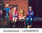 kids dressed up as superheroes | Shutterstock . vector #1104689870