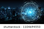 digital triangle exploding... | Shutterstock . vector #1104694553