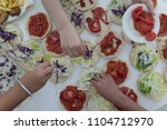 fast food on the table  | Shutterstock . vector #1104712970