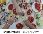fast food on the table  | Shutterstock . vector #1104712994
