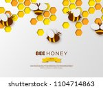 paper cut style bee with... | Shutterstock .eps vector #1104714863