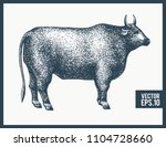 graphical bull silhouette.... | Shutterstock .eps vector #1104728660