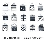 gift boxes set  hand drawn ... | Shutterstock .eps vector #1104739319