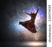 girl dancing in a color dress... | Shutterstock . vector #110474039