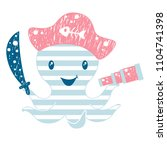 octopus cute print. sea fanny... | Shutterstock .eps vector #1104741398
