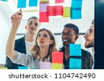 multicultural group of male and ... | Shutterstock . vector #1104742490