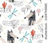 baby seamless pattern   cute... | Shutterstock .eps vector #1104743000