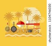 summer beach picnic landscape.... | Shutterstock .eps vector #1104746030