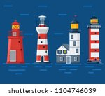 red lighthouse set. sea guiding ... | Shutterstock .eps vector #1104746039