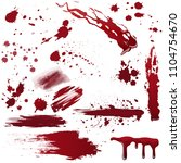 set of various blood or paint... | Shutterstock . vector #1104754670