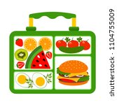 lunch box with a good lunch for ... | Shutterstock .eps vector #1104755009