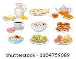 tasty breakfast. dairy products ... | Shutterstock .eps vector #1104759089