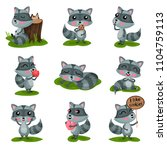 flat vector set with adorable... | Shutterstock .eps vector #1104759113