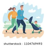 happy young family with a baby... | Shutterstock .eps vector #1104769493