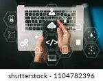 coding software developer work... | Shutterstock . vector #1104782396