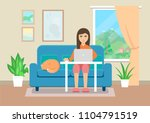 young woman working at home.... | Shutterstock .eps vector #1104791519