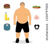 fat man. unhealthy lifestyle.... | Shutterstock .eps vector #1104797003