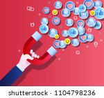 concept of attracting followers ... | Shutterstock .eps vector #1104798236