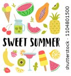 sweet summer vector lettering... | Shutterstock .eps vector #1104801500