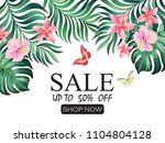 summer sale banner.  beautiful... | Shutterstock .eps vector #1104804128