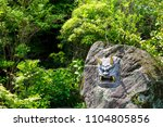 japanese demon face on stone at ... | Shutterstock . vector #1104805856