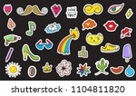 cute colorful modern patch set. ... | Shutterstock .eps vector #1104811820