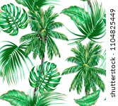 palm trees  tropical leaves ... | Shutterstock .eps vector #1104825449