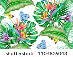 tropical floral vector seamless ... | Shutterstock .eps vector #1104826043