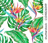 tropical floral vector seamless ... | Shutterstock .eps vector #1104826049