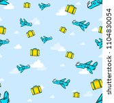 airplane in clouds pattern | Shutterstock . vector #1104830054