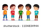 happy multiethnic preschool... | Shutterstock .eps vector #1104834944