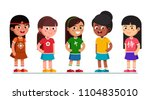 happy multiethnic preschool... | Shutterstock .eps vector #1104835010