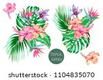 tropical flowers  palm leaves ... | Shutterstock .eps vector #1104835070