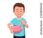 smiling teenage boy kid holding ... | Shutterstock .eps vector #1104835610
