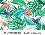 tropical floral summer seamless ... | Shutterstock .eps vector #1104836108