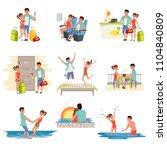 family couple traveling on... | Shutterstock .eps vector #1104840809