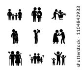 9 family icons vector set.... | Shutterstock .eps vector #1104842933
