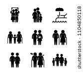 9 family icons vector set. pool ... | Shutterstock .eps vector #1104850118