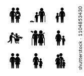 9 family icons vector set. boy  ... | Shutterstock .eps vector #1104853430