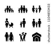 9 family icons vector set. bowl ...   Shutterstock .eps vector #1104853433