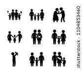 9 family icons vector set. grey ... | Shutterstock .eps vector #1104853460