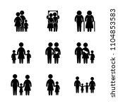 9 family icons vector set. girl ... | Shutterstock .eps vector #1104853583