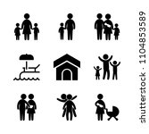 9 family icons vector set....   Shutterstock .eps vector #1104853589